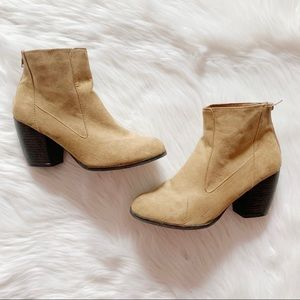 Pacsun tan suede heeled/wedge ankle boots